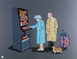 Queen on Fruit Machine by Dylan Izaak - Original Painting on Aluminium sized 36x28 inches. Available from Whitewall Galleries